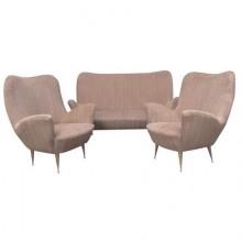 Salon canapé deux places et deux fauteuils, Italie époque 1950