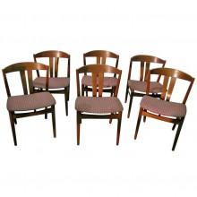 Ensemble de six chaises en teck danois, 1950 Période.