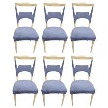 Rare ensemble de six chaises en sycomore. Melchiorre Bega Italie 1970