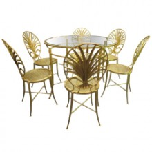 Set of table and six chairs By S. Salvadori. Firenze C. 1960