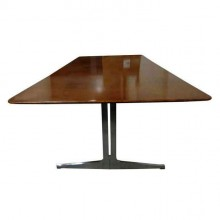 Exceptionnelle grande table ou bureau en loupe d'amboine, Knoll International circa 1965