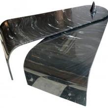 Table basse époque 1970 en résine à l'imitation du marbre, dans l'esprit de Mangiarotti